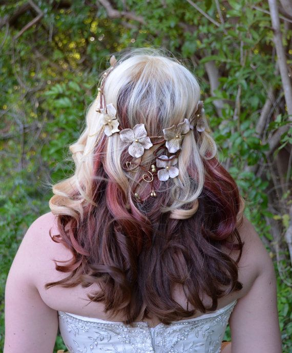 Wedding flower crown  bridal headpiece  by Frecklesfairychest, $60.00
