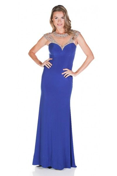 Clarisse 2836 Cap Sleeve Sparkling Gown $95 Rental blue gown, blue prom dress, gala gown, sweetheart neckline, elsa dress, rent prom dress