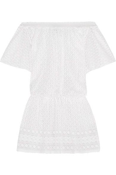 MELISSA ODABASH Michelle off-the-shoulder embroidered georgette dress. #melissaodabash #cloth #beachwear