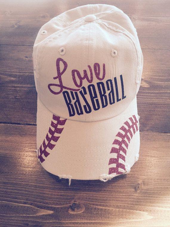 Love Baseball Glitter Baseball Cap by JonesCreekBoutique on Etsy