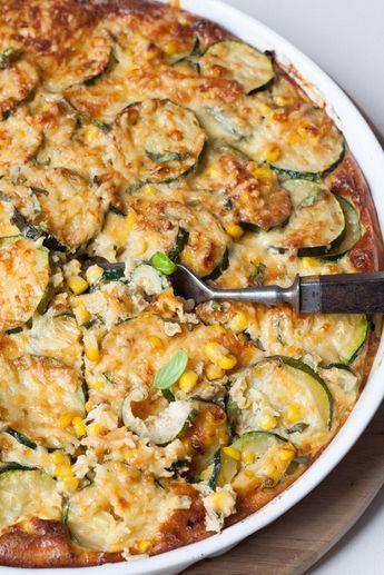 Zucchini-Mais-Quiche ohne Boden. Extrakäsig und verdammt gut - Mit Pilzen und anderem Gemüse?