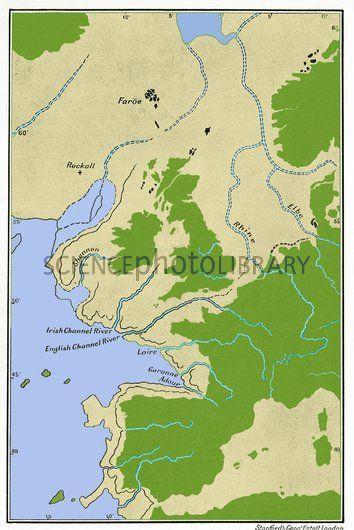 Prehistoric sea level map, Europe