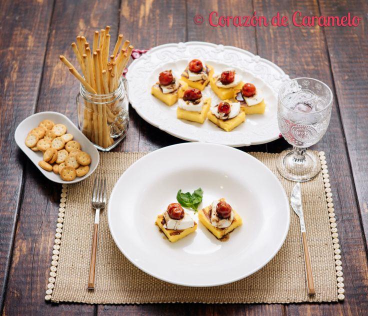 Polenta con Mozarella y Tomatitos Asados