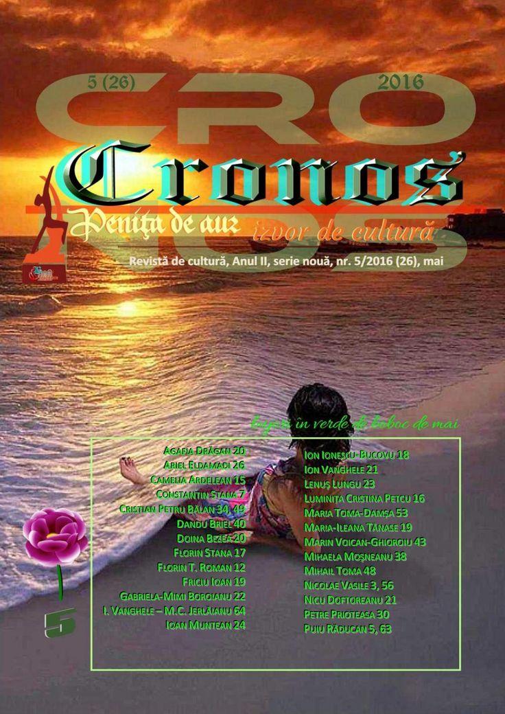 Revista Cronos nr. 5 (26), mai 2016  Revista Cronos nr. 5 (26), mai 2016 - bujori în verde de boboc de mai. Revista Cronos - revistă de cultură, fondată la Constanța, martie 2013, Anul II, serie nouă, nr. 5 (26), mai 2016. ISSN 2286 – 1963. ISSN-L 2286 – 1963.