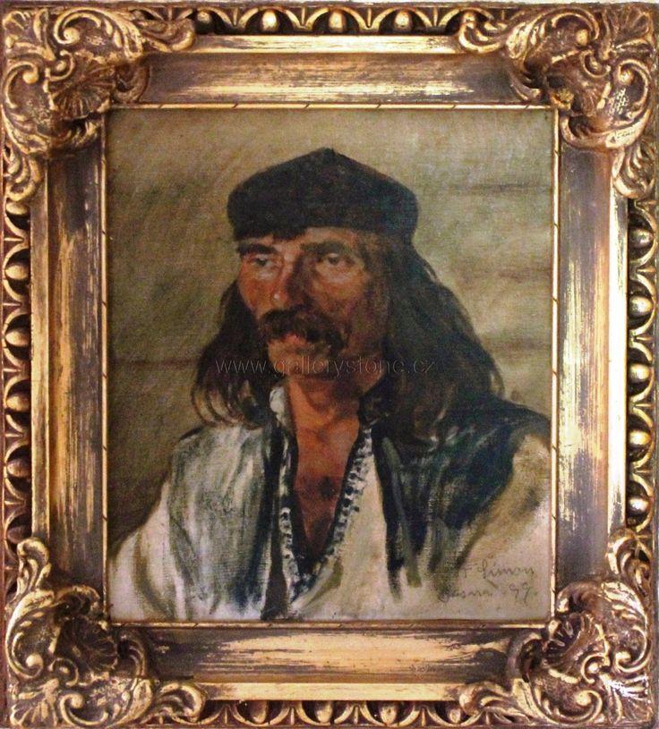 Tavík Šimon František ( 1877 - 1942 ) - Dalmatinec - plátno,fix na karton - vročeno Bosna 1899 - 41x37
