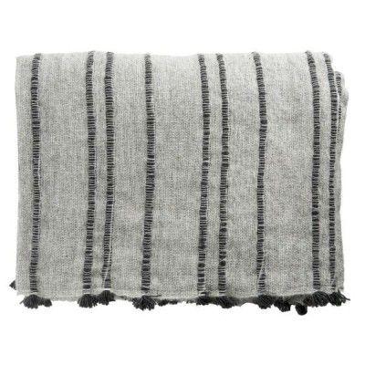 Madame pledd ull grå m/mørk grå striper 125x160 cm