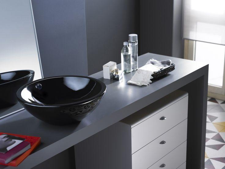 Lavabo Castellón negro. Ref 0012B/NE. Medidas 430x145 mm. Disponible en blanco Ref 0012B
