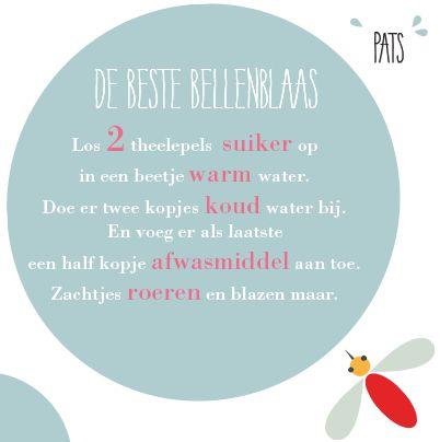 Het recept voor de beste bellenblaas. Van www.frederiekvanwaes.nl voor Mugjes.