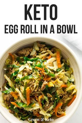 Easy one-pan Keto Egg Roll in a Bowl recipe is delicious and low-carb. Can be ma...