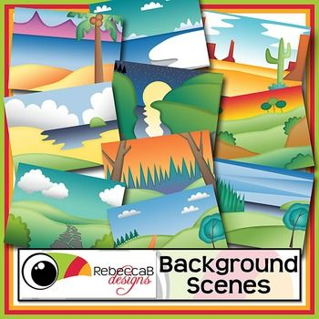 Background Scenes contains 10 colored and 10 black and white background scenes for your products.  Simply place your text and clip art over the background scene. Create product covers, posters, dioramas, worksheets, activities and other teaching resources.