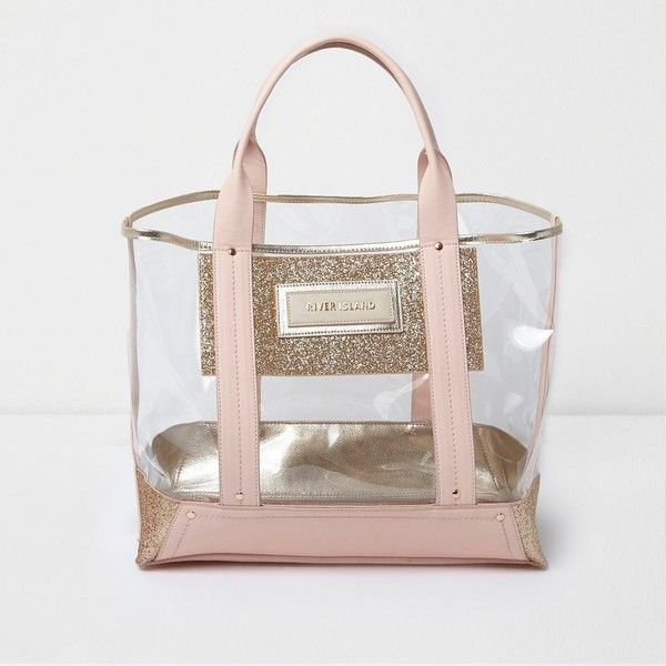 River Island Pink perspex glitter panel beach tote bag ($70) ❤ liked on Polyvore featuring bags, handbags, tote bags, bags / purses, pink, shoppers / tote bags, women, beach tote bags, man tote bag and handbags totes