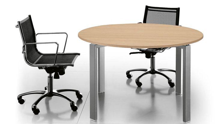 Besprechungstisch Platinum Besuchertisch Konferenztisch Rund Mit Massivem  Tisch Untergestell Aus Metall Besprechungstischplatte Rund In Dekor