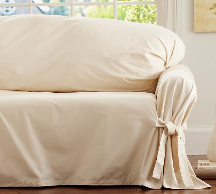 Twill Tie Arm Loose Fit Slipcover Small Sofa Cream