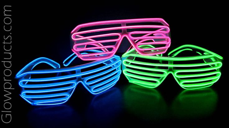 Glowing EL Wire Shutter Shades with White Frames https://glowproducts.com/us/el-wire-shutter-shades-with-white-frames