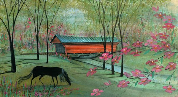 """Sinking Creek Covered Bridge"" by P Buckley Moss. Giclee on Paper. Published 2014. Image Size: 8-3/4 x 16 ins.   $120."