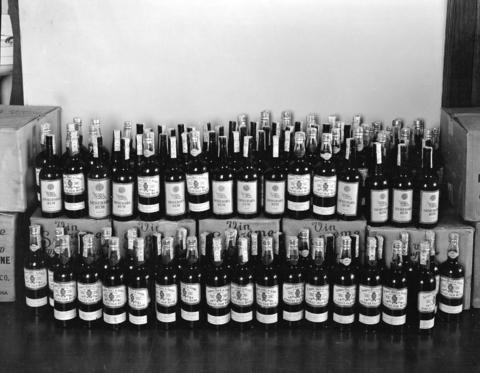 Cases of rum captured in an R.C.M.P. Liquor Seizure, 1932. (Photo by Stuart Thomson for the R.C.M.P., via Vancouver Archives)