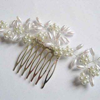 Pieptene nunta cu perle sticla si cristale, pieptene mireasa