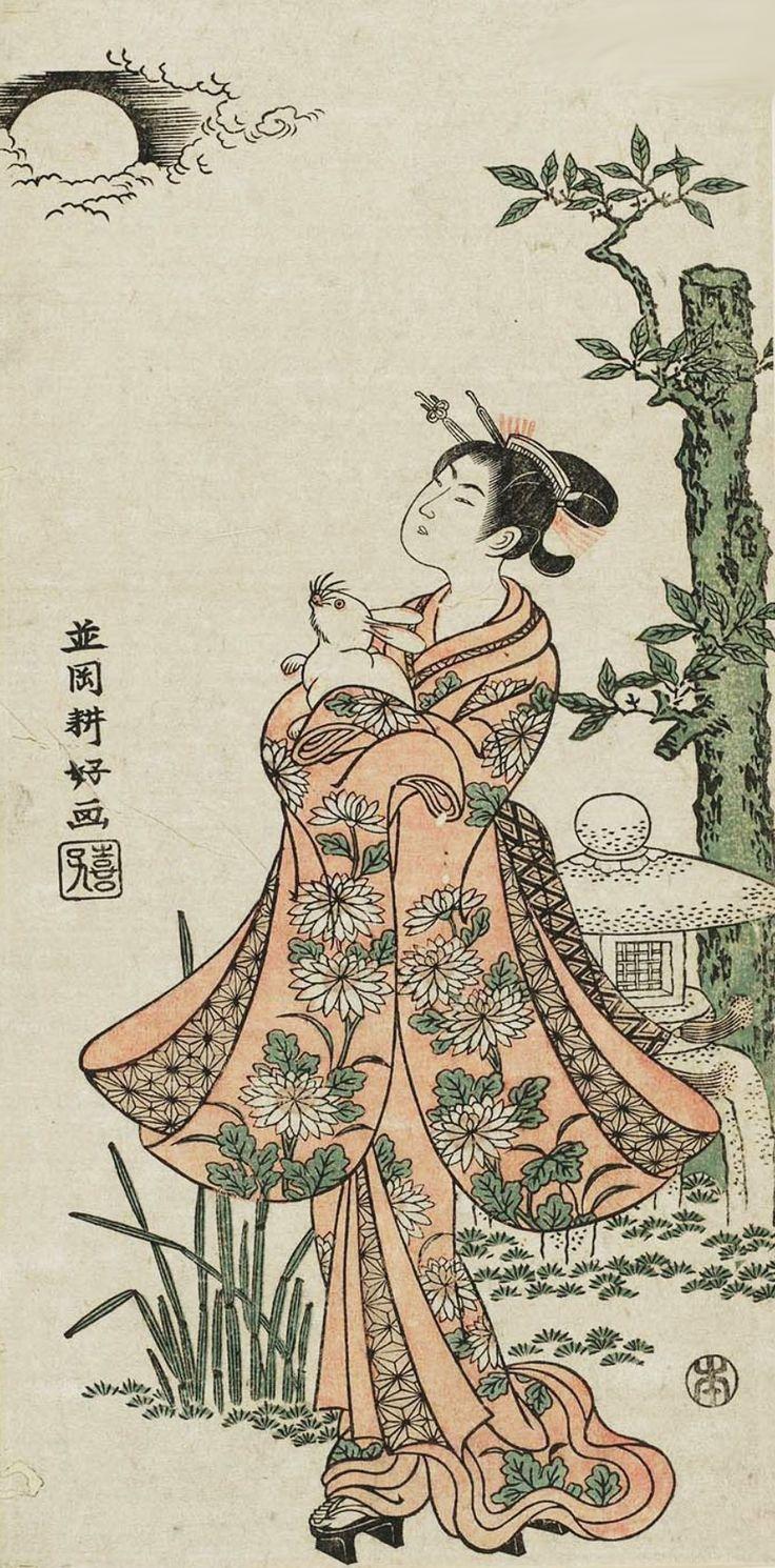 "thekimonogallery: ""Woman Holding a Rabbit, Admiring the Moon"". Ukiyo-e woodblock print, by artist Namioka Koko, about 1770, Japan."