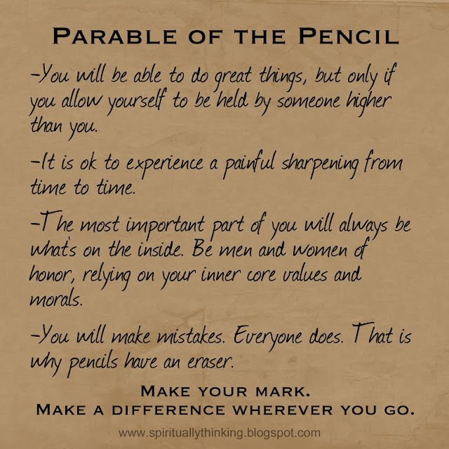 Parable of the Pencil. Great FHE or lesson idea. Also see http://lds-yw.blogspot.com/2012/10/the-parable-of-pencil.html