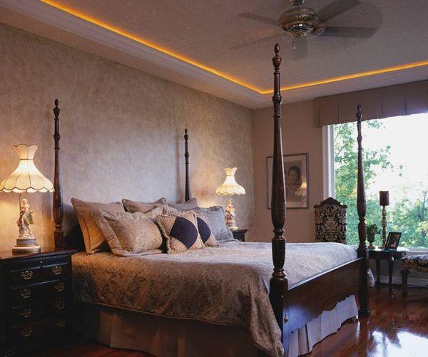 Chambre à coucher vintage, éclairage led discret