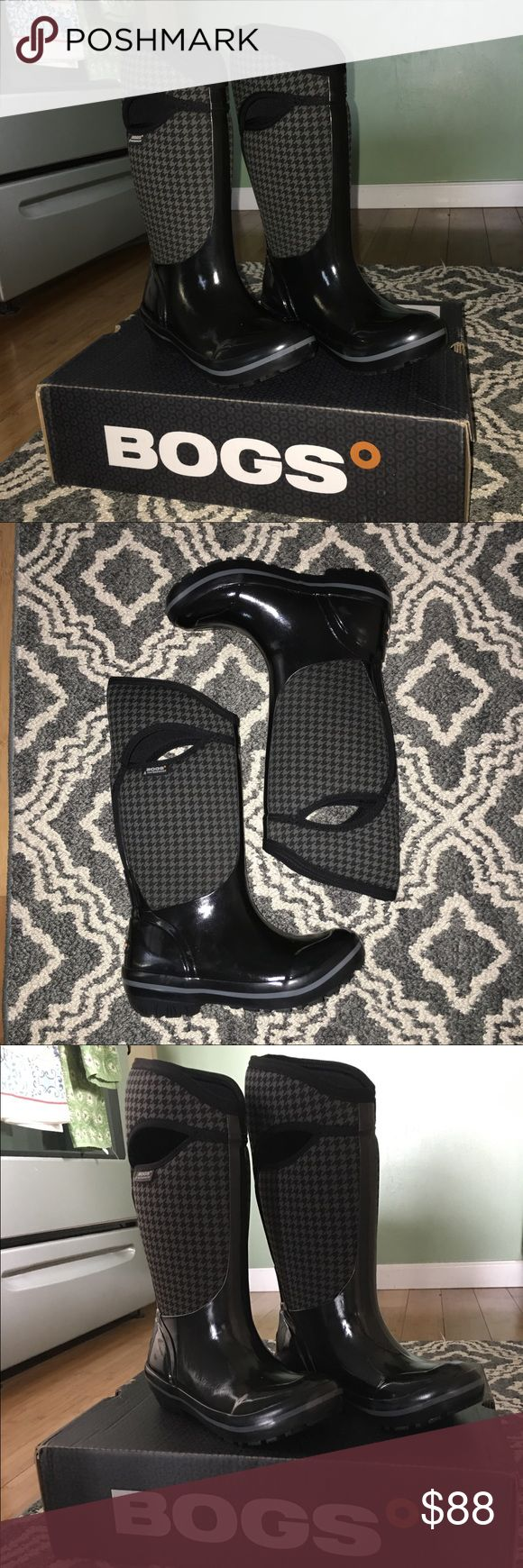 Bogs Boots ☔️ Black houndstooth Bogs Boots. NWT Bogs Shoes Winter & Rain Boots