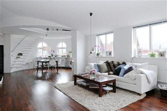 Modern minimalist living room design with white sofa and wood floor Use Scandinavian Style