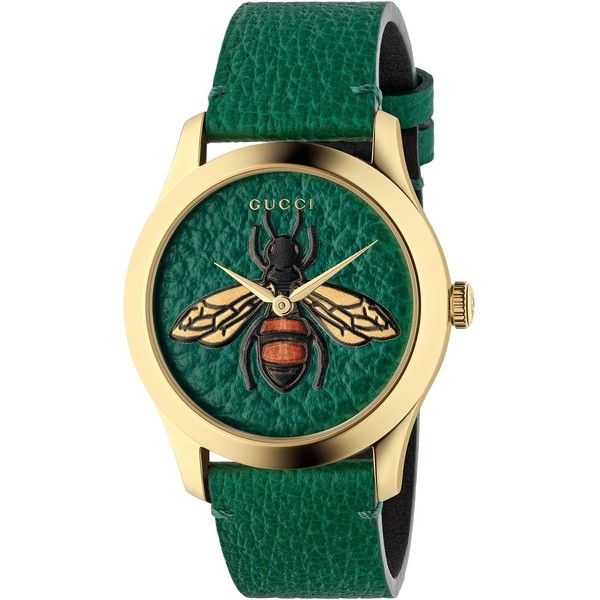 Gucci G-Timeless, 38Mm ($1,055) ❤ liked on Polyvore featuring jewelry, watches, emerald green, leather watches, gucci jewellery, bee jewelry, leather jewelry and honey bee jewelry