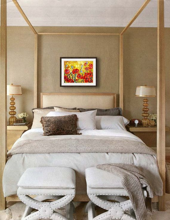 bedroom decorating ideas | colorful home decor | floral bedroom wall decor | contemporary bedroom decor | learn more → https://www.etsy.com/listing/68122594/red-poppy-art-fine-art-print-mixed-media
