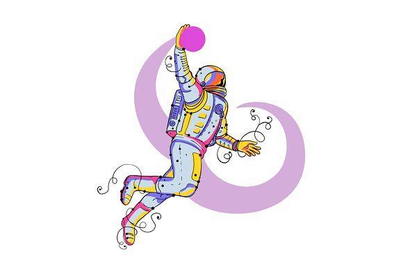 Astronaut Dunking Ball Doodle by patrimonio on @creativemarket #patrimonio #astronaut #illustration