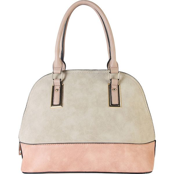 Diophy Two-tone Shell Tote with Removable Straps - Beige - Totes (905 EGP) ❤ liked on Polyvore featuring bags, handbags, tote bags, tan, tote purses, zippered tote bag, beige tote, white purse and zip tote