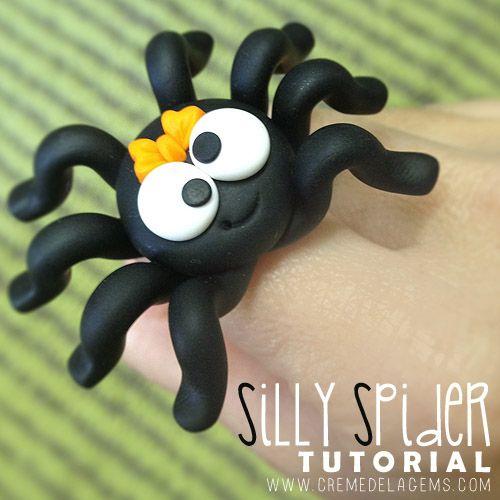 Silly clay spider tutorial #diy #crafts www.BlueRainbowDesign.com