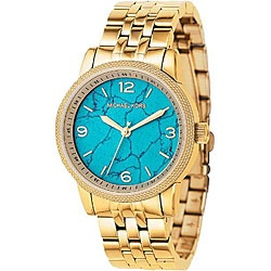 Michael Kors women's timepiece is made of a gold IP steel  Stylish watch features a turquoise dial with goldtone hands and hour markers  Add a fashion watch to your wardrobe for an eye-catching touch