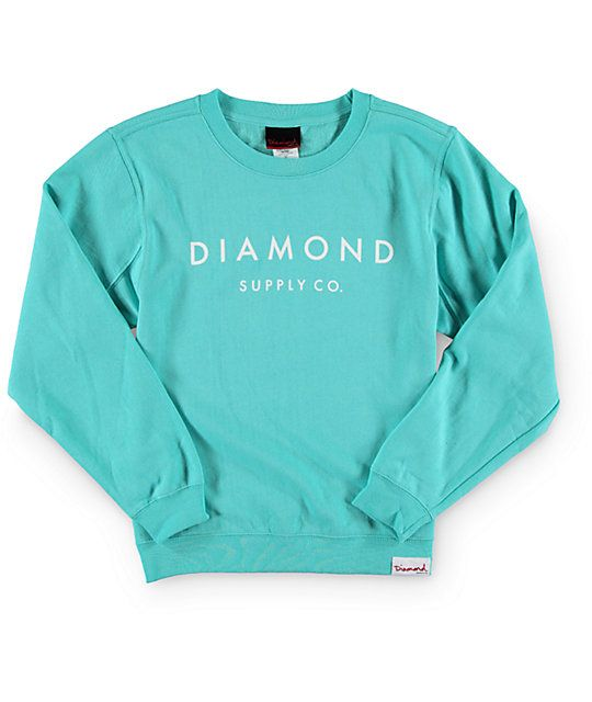 A mint colored crew neck sweatshirt crafted with a comfortable fleece construction and a Diamond Supply Co. text graphic at the front.