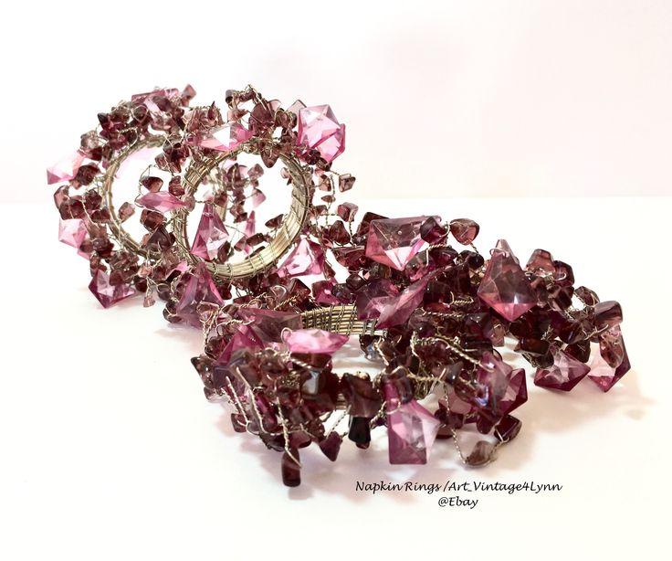 Beautiful beaded purple clusters napkin rings at #Art_Vintage4Lynn #Ebay to buy click image #KimSeybert #NapkinRings #DinnerParty #Bohemian #BohoChic #BohoStyle #PurpleKitchen #Party #NewYearsEve #BeadedNapkinRings #Purple #TableSetting