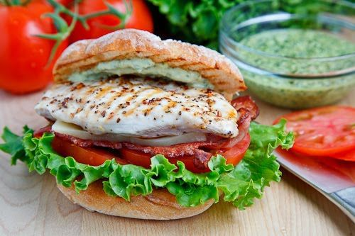 Grilled Chicken Club Sandwich with Pesto Mayo: Food, Workout Plans, Grilled Chicken, Healthy, Chicken Club Sandwiches, Pesto Mayo, Chicken Sandwich, Chicken Breast, Closet Cooking
