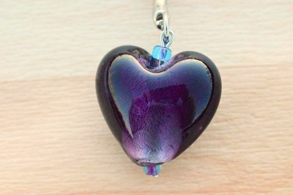 Heart Keychain - Purple Heart Key Chain - Handbag Charm - Backpack Keychain - Back To School Gift