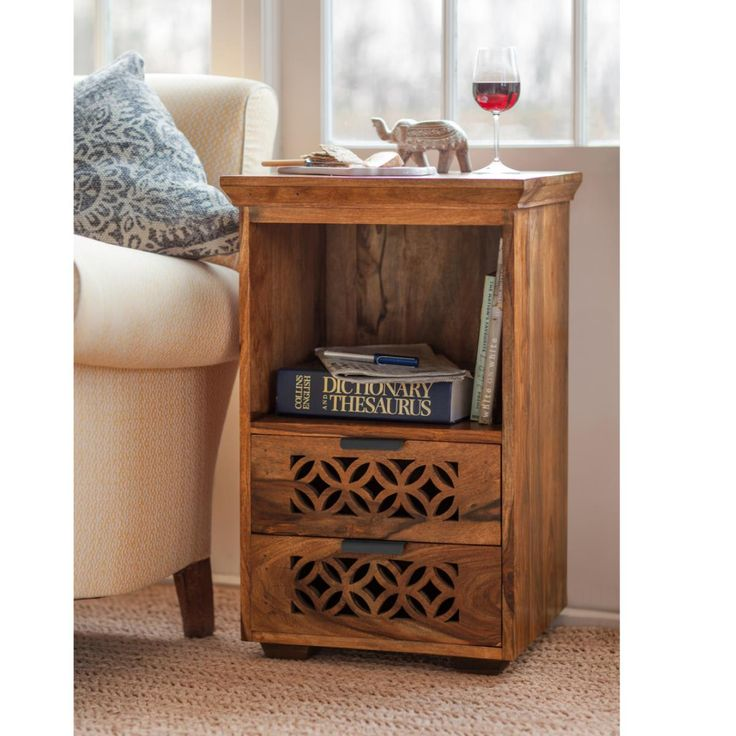 Bedside or small cabinet in hand waxed sheesham wood. Useful in lounge at sofa side or lamp stand. With carved design from our Jasmeen furniture collection in rosewood. Fair Trade. Hand made in India.