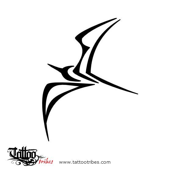Frigate bird. A+E+L. The frigate bird of this tattoo is shaped by the union of the letters A, E and L, headletters of the names of the nephews of Leonardo, for whom this tattoo was prepared. More at TattooTribes.com