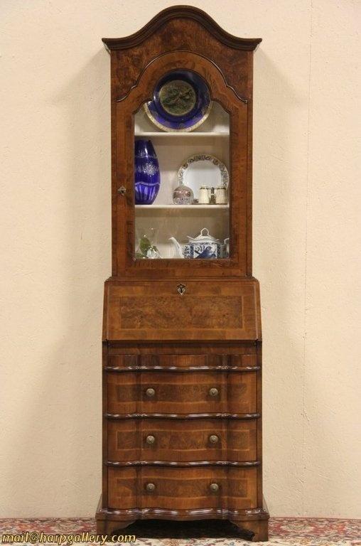 narrow vintage secretary desk curio display top