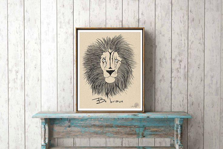 Be brave motivational quote wall art, lion illustration print, hand drawn home decor, animal poster, inspirational quote art by Lepetitchaperon on Etsy