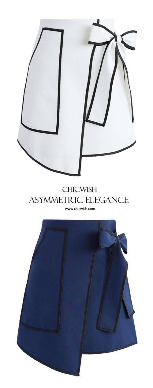 Urban Vogue Flap Skirt in White and Navy www.chicwish.com