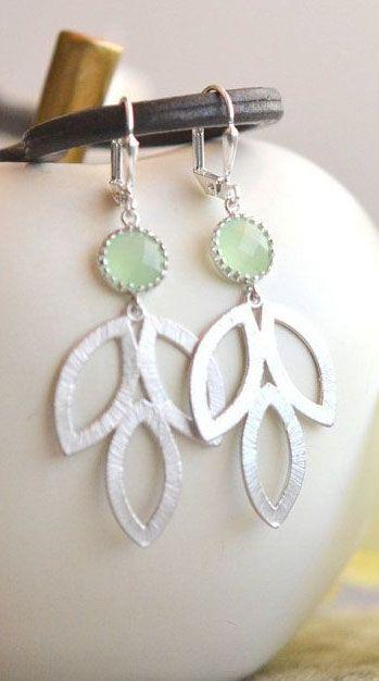 Mint Dangle Earrings in Silver. Mint Leaf Drop Earrings.  Mint Jewelry. Bridesmaid Earrings. Gift for Her