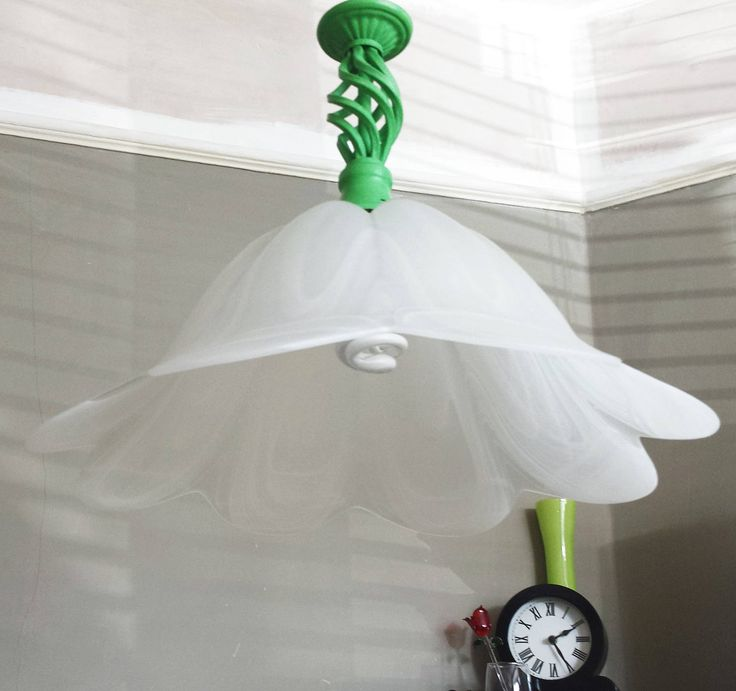 Pendant light fixture, white glass lamp shade, Upcycled hanging ceiling light in Annie Sloan Antibes Green, flower lights, green decor light by Number11Interiors on Etsy