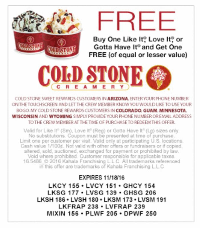 Cold stone discount coupons