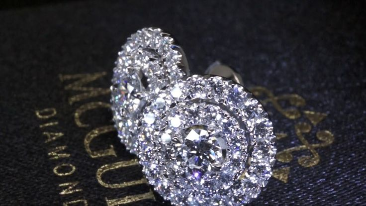 Halo diamond earrings by McGuire Diamonds