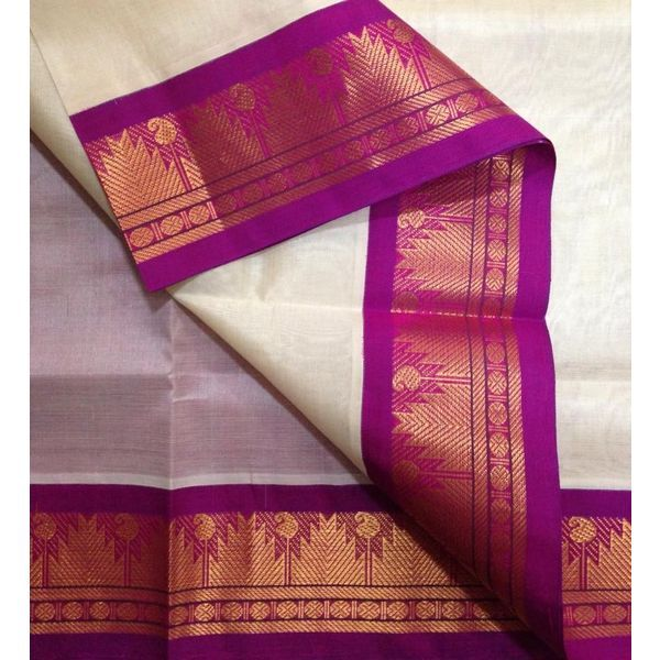 Buy SC4700012-VARNAM Handwoven Silkcotton-Korvai woven-Offwhite violetish pink beauty, 800g online - Handwoven Kanchivarams,Soft Silks, Silk Cottons and Tussars!