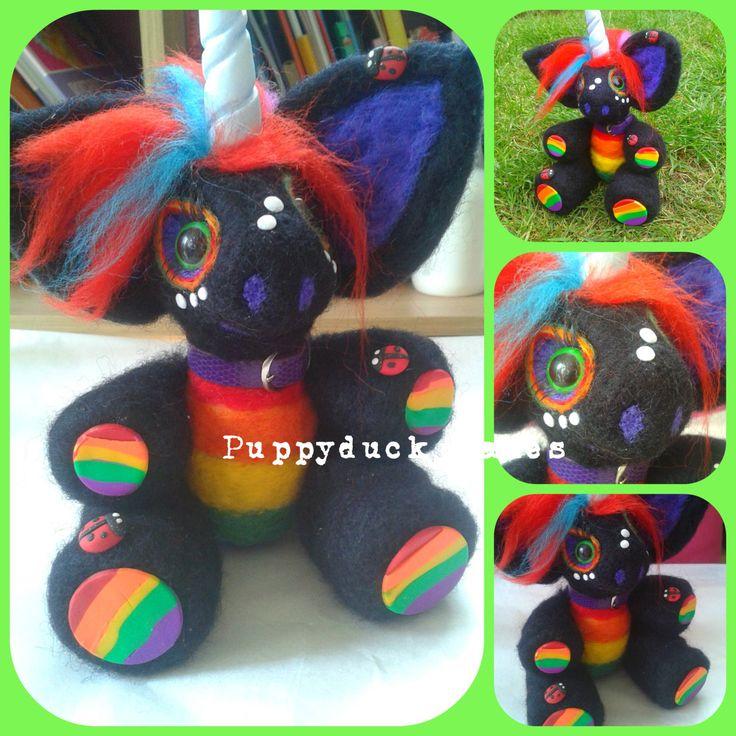 Needle Felt Unicorn Custom Slot- Black Rainbow - pinned by pin4etsy.com