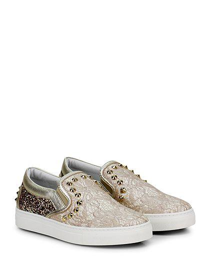 STOKTON - Sneakers - Donna - Sneaker in glitter, tessuto ricamato e pelle laminata con borchie su tomaia ed inserti elastici su ambo i lati. Suola in gomma, tacco 25. - PINK\GOLD