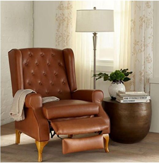 Shop For Queen Anne Style Tufted Wingback Recliner And More Plus Size  Chairs U0026 Recliners
