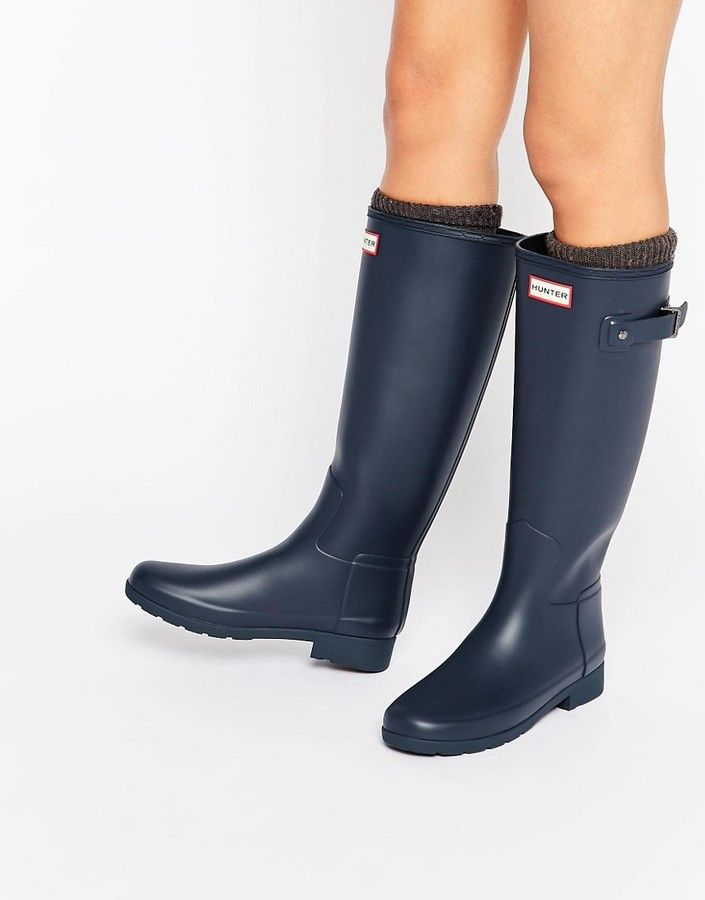 Hunter Original Refined Tall Navy Wellington Boots
